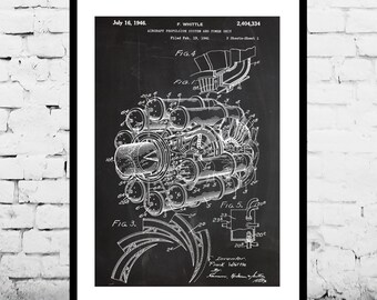 Jet Engine Patent Jet Engine Poster  Jet Engine Blueprint  Jet Engine Art Jet Engine Print Jet Engine Wall Art Airplane p393