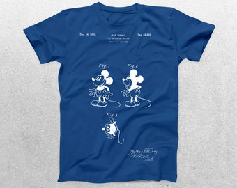 Mickey Mouse Patent T-Shirt, Mickey Mouse Blueprint, Patent Print T-Shirt, Mickey Mouse Shirt, Disneyland Souvenir Shirt p207