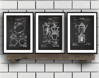 Coffee Related Patent Set of THREE, Coffee Invention Patent, Coffee Poster, Coffee Print, Coffee Patent, Coffee Inventions SP173