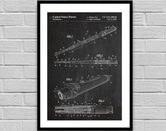 Star Wars Patent Star Wars Poster Lightsaber Poster Lightsaber Blueprint Lightsaber Print Fan decor Collectible star wars decor p1384