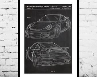 Porsche 911 Patent, Porsche 911 Poster, Porsche 911 Print, Porsche 911 with Spoiler, Porsche Art p916