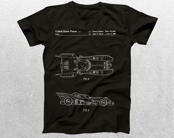 Batmobile Patent T-Shirt, Batmobile Blueprint, Patent Print T-Shirt, Batman T-Shirt, Batmobile Movie Shirt, Batman Gift p906