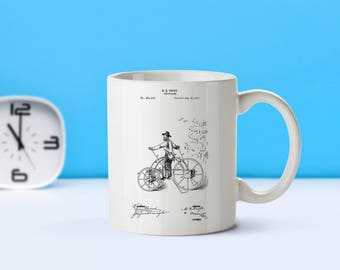 Tricycle patent mug  coffee mug  coffee lover  patent art  patent mug  Tricycle Decor Vintage AntiqueCollectible DecorM285