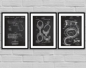 Police Patent Set of THREE, Police Patent Art - Police Art - Police Poster - Police Wall Art - Police Officer, Handcuffs, Police hat SP478