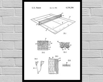 Tennis Court Patent, Tennis Court Poster, Tennis Court Print, Tennis Court Art, Tennis Court Decor, Tennis Court Blueprint, Tennis p885
