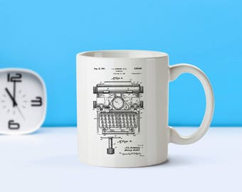 Typewriter patent mug  coffee mug  coffee lover  patent art  patent mug  Gifts For WritersTypewriter CollectibleTeacher GiftM299
