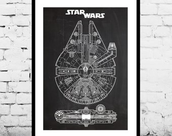Star Wars patent Millennium Falcon Star Wars Poster Geek Decor Patent Print Poster Wall Decor p932