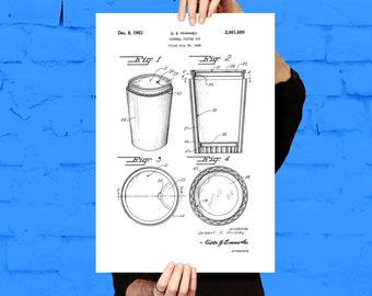 Coffee Cup Patent Coffee Cup Poster Coffee Cup Blueprint  Coffee Cup Print Coffee Cup Art Coffee Cup Decor p986