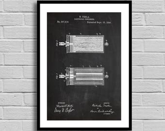 Tesla Electrical Condenser Patent Electrical Condenser Patent Poster Electrical Condenser Blueprint Electrical Condenser Print Science p744