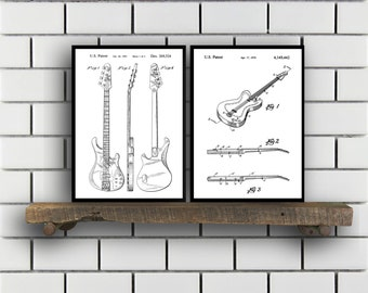 Rock n Roll Invention Poster  2 PACK set Music Patent Instrument Prints Guitar Gifts Drum Art Music Wall Decor Musician Wall Art SP211