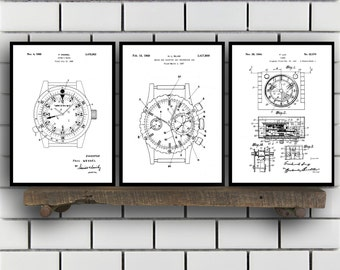 Watch Patent Set of THREE, Watch Invention Patent, Wrist watch Poster, Watch Print, Timepiece Patent, Watch Inventions SP127