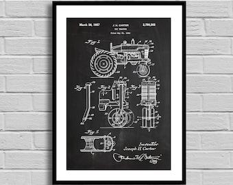 Tractor Patent, Tractor Patent Poster, Tractor Blueprint, Tractor Print, Farming Gift, Farmhouse Decor, Farmer Gift, Agriculture, p1165
