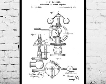 Steam Engine Patent Steam Engine Poster Steam Engine Blueprint  Steam Engine Print Steam Engine Art Steam Engine Decor p279