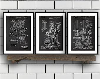 Chemistry Patents Set of 3 Prints, Chemistry Prints, Chemistry Posters, Chemistry Blueprints, Chemistry Art, Chemistry Wall Art Sp311