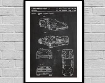 F40 Ferrari Patent Print, Patent Art Print, Patent Poster, Car, Auto, Automobile, Enzo Ferrari, Sports Car, gift for him, patent, p1102