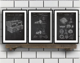 Chess Invention Poster - 3 PACK set,  Chess Patent, Chess Prints, Chess Gifts, Chess Art, Chess Wall Decor, Chess Wall Art SP197