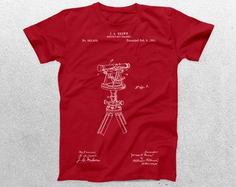 Surveyor's Transit Patent T-Shirt Surveyor's Transit Blueprint Patent Print T-Shirt Engineering Shirt Land Surveyor Shirt p01