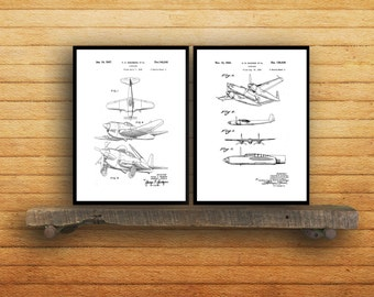 Airplane Poster set of 2  Airplane prints  Airplane Poster  Airplane mixer pack  Vintage Airplane Patents  Pilot  Flying sp76