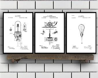 Thomas Edison Patent Prints - Set of 3 - Light bulb Patent, Thomas Edison Poster, Thomas Edison Blueprint, Thomas Edison art sp346