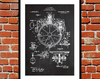 Compass Print Compass Patent Compass Poster Compass Art Compass Wall Art Compass Blueprint Compass Decor p511