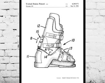Ski Boots Patent, Ski Boots Poster , Ski Boots Print, Ski Boots Art, Ski Boots Decor, Ski Boots Blueprint, Ski Boots Wall Art, Skiing p859
