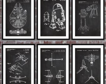 Star wars patent, Millennium Falcon, Tie Bomber, X-wing, AT-AT, Star Wars Poster, Star wars patent art, Millennium Falcon Star Wars SP542