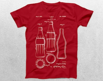 Coke Bottle Patent T-Shirt, Coca Cola Blueprint, Patent Print T-Shirt, Coke Bottle Shirt,  Retro T-Shirt p509