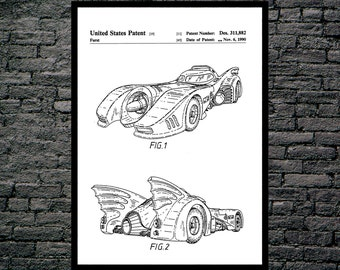 Batman Batmobile Print Batman Batmobile Patent Batman Batmobile Poster Batman Batmobile Art Batman Batmobile Decor Batman Art  p344
