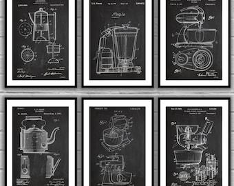 Kitchen Appliances - Set of 6 - Kitchen Patents - Kitchen Mixer Art - Coffee Inventions -  Tea Kettle Patent - Vintage Kitchen Art sp24