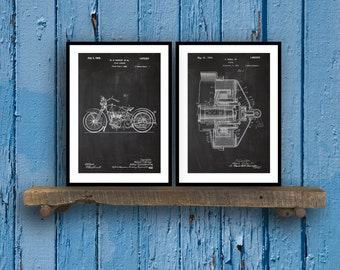 Harley Davidson Poster set of 2  motorcycle prints  Harley Poster  Harley Davidson Motorcycle  Harley Engine  Harley  Motorcycle SP58