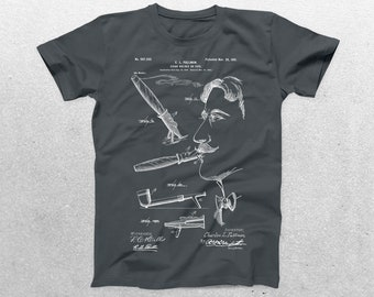 Cigar Holder Patent T-Shirt, Cigar Holder Blueprint, Patent Print T-Shirt, Cigar Holder Shirt, Hipster T-Shirt p1249