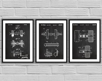 Dumbbell Patent Set of THREE, Dumbbell Invention Patent, Dumbbell Poster, Dumbbell  Print, Gym Patent, Dumbbell Inventions SP152A