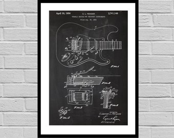 Fender Electric Guitar Poster, Fender Electric Guitar Patent, Fender Guitar Print, Fender Electric Guitar Decor, Fender p1441