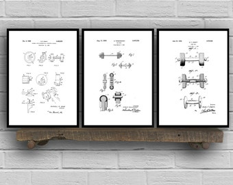 Dumbbell Patent Set of THREE, Dumbbell Invention Patent, Dumbbell Poster, Dumbbell  Print, Gym Patent, Dumbbell Inventions SP153