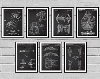 Star Wars patent Millennium Falcon Tie Bomber X-wing AT-AT Star Wars Poster Star Wars Patent Millennium Falcon Star Wars Print SP410