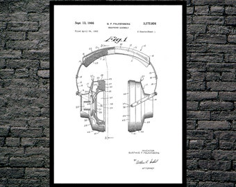 Headphones Patent, Headphones Poster, Headphones Blueprint, Headphones Print, Headphones Art, Headphones Decor p157