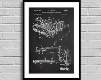 Bulldozer Patent, Bulldozer Patent Poster, Bulldozer Blueprint, Bulldozer Print, Construction Decor, Construction Gift, Vintage, p1092