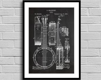 Banjo Patent, Banjo Patent Poster, Banjo Blueprint, Banjo Print, Musical Instruments, Music Decor, Musician Gift, Music Room Decor, p391