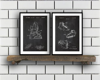 Skiing Related Patent Set of TWO Skiing Invention Patent Skiing Poster Skiing Print Skiing Patent Skiing Inventions SP172