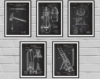 Firefighter Patents SET of 5 Firefighter Poster Firefighter Art Firefighter Decor Firefighter Wall Art Gift Firefighter gift Sp427