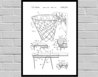 Basketball Hoop Print, Basketball Poster, Basketball Patent, Basketball Decor, Basketball Art, Vintage Basketball Goal p428