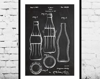 Coke Bottle Patent Coke Patent Poster Coke Blueprint Coke Bottle Print Mancave decor Gift for him Coke art Coca Cola p509