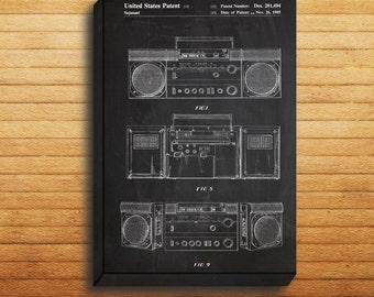 CANVAS  Boombox Patent Boombox Poster Boombox Print Boombox Art Boombox Decor Boombox Blueprint Vintage Boombox Art Boombox Art p057