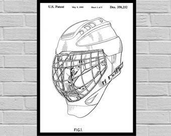 Goalie Mask Poster, Goalie Mask Patent, Goalie Mask Print, Goalie Mask Art, Hockey Art, Hockey Patent, Gift for him, Dorm Decor p1114