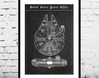 Star Wars patent Millennium Falcon Star Wars Poster Millennium Falcon Star Wars Patent Millennium Falcon Star Wars Print patent art p1383