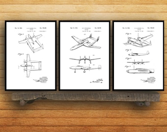 Airplane Poster set of 3 - Airplane prints - Airplane Poster - Airplane mixer pack - Vintage Airplane Patents - Pilot - Flying sp74