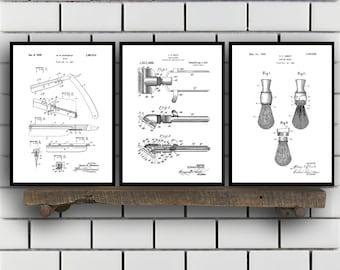 Shaving Inventions set of THREE - Shaving Patent - Men's Bathroom Art - Men's Bathroom Wall Art - Razor Patent - Shaving Brush Patent sp102