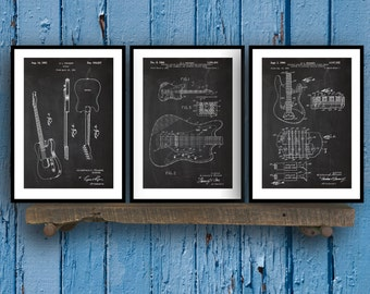 Fender Guitar Poster - 3 PACK,  Fender Guitar Blueprint, Fender Guitar Patent, Fender Guitar Prints, Fender Guitar Art, Guitar Decor SP42