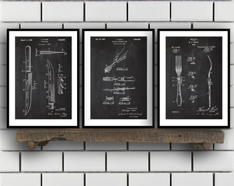 Cutlery Patent Set of THREE, Cutlery Invention Patent, Silverware Poster, Cutlery Print, Cutlery Patent, Cutlery Inventions 2P218