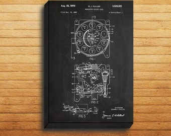 CANVAS  Rotary Dial Patent Rotary Dial Poster Rotary Dial Blueprint Rotary Dial Print Rotary Dial Art Rotary Telephone Decor p250